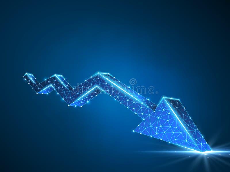 Diagramme de flèche de tendance à la baisse Néon polygonal de vecteur du marché de crise d'affaires Basse poly tendance, argent l illustration libre de droits