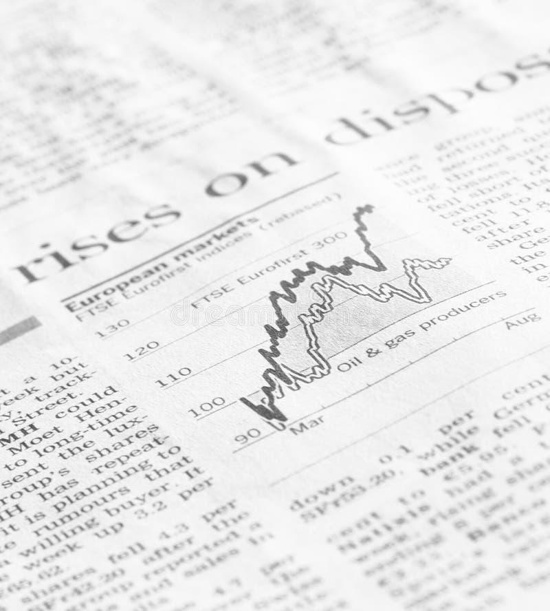 Diagramme de marché boursier montrant la production de pétrole et de gaz image libre de droits