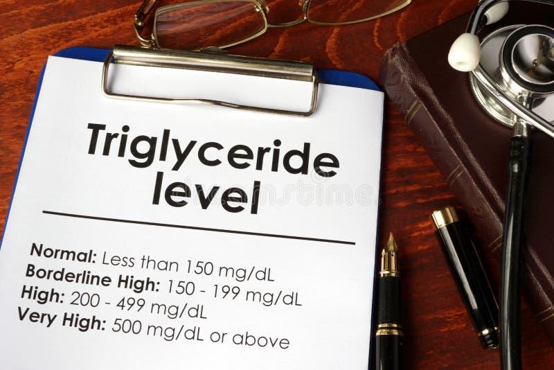 Diagramme de niveau de triglycéride sur une table photo stock