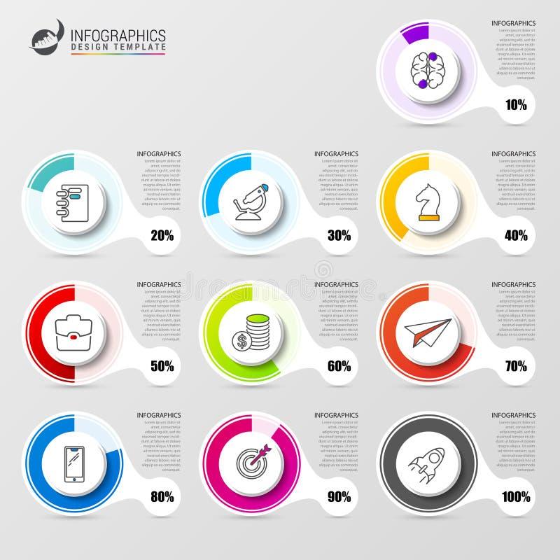 Diagramme de pourcentage Calibre de conception d'Infographic avec des icônes illustration libre de droits