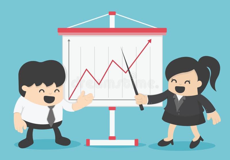 Diagramme de Presenting Business Growth d'homme d'affaires et de femme d'affaires illustration stock