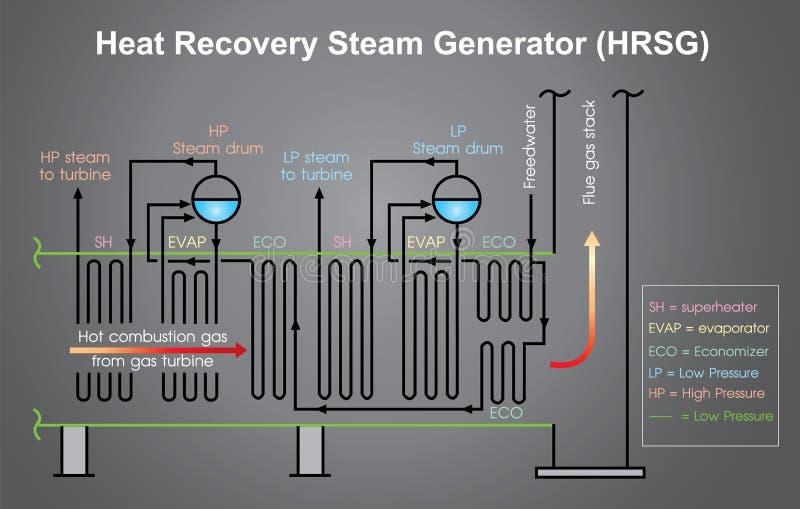 Diagramme de processus de générateur de vapeur de récupération de chaleur Vecteur de graphique d'infos illustration libre de droits