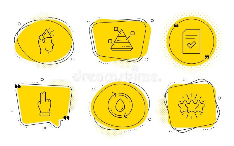 Diagramme de pyramide, main de clic et ensemble d'icônes d'eau de recharge Ambassadeur de marque, dossier vérifié et signes d'éto illustration de vecteur