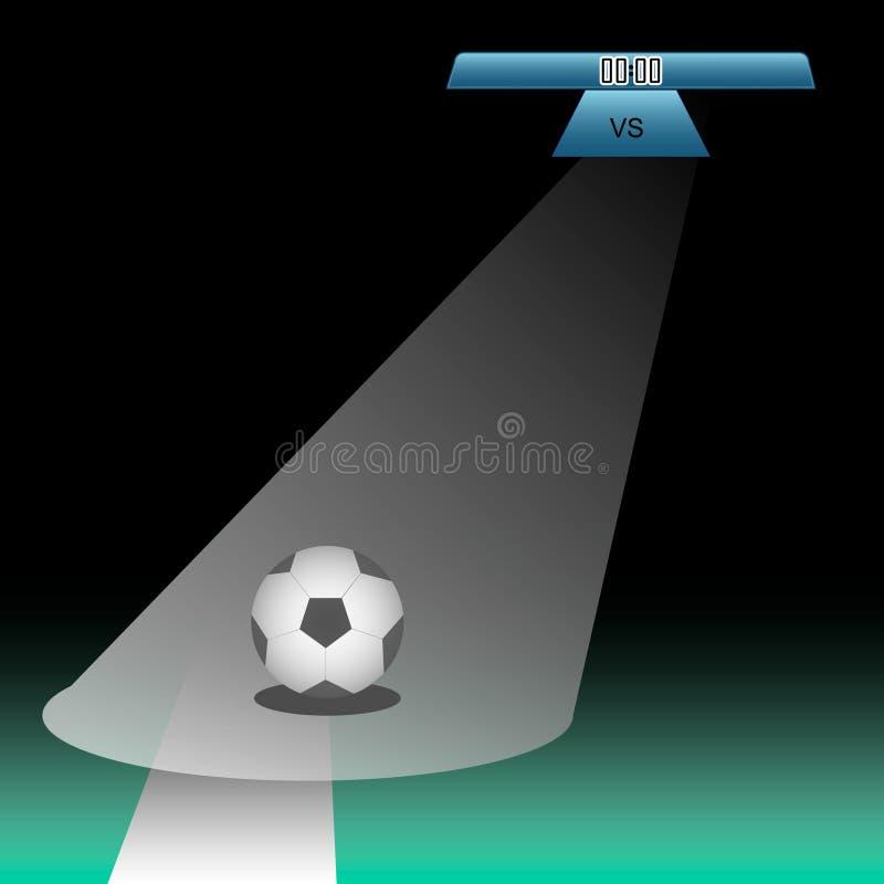 Diagramme de tableau indicateur du football du football au-dessus de champ vert avec du ballon de football illustration libre de droits