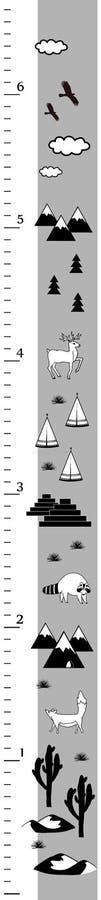 Diagramme de taille d'enfants dans le style scandinave minimalistic Dosez le mur ou le mètre de taille, pouces mesurent Vecteur n illustration libre de droits