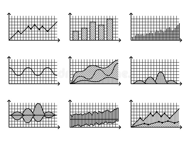 Diagramme in der dünnen Linie Art Entwurfsdiagramme für infographic Vektorillustration stock abbildung