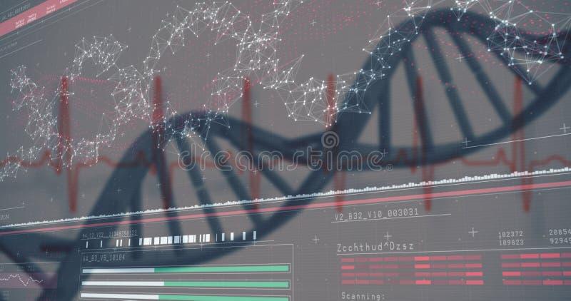 diagramme des gènes 3D sur le fond rouge foncé images stock