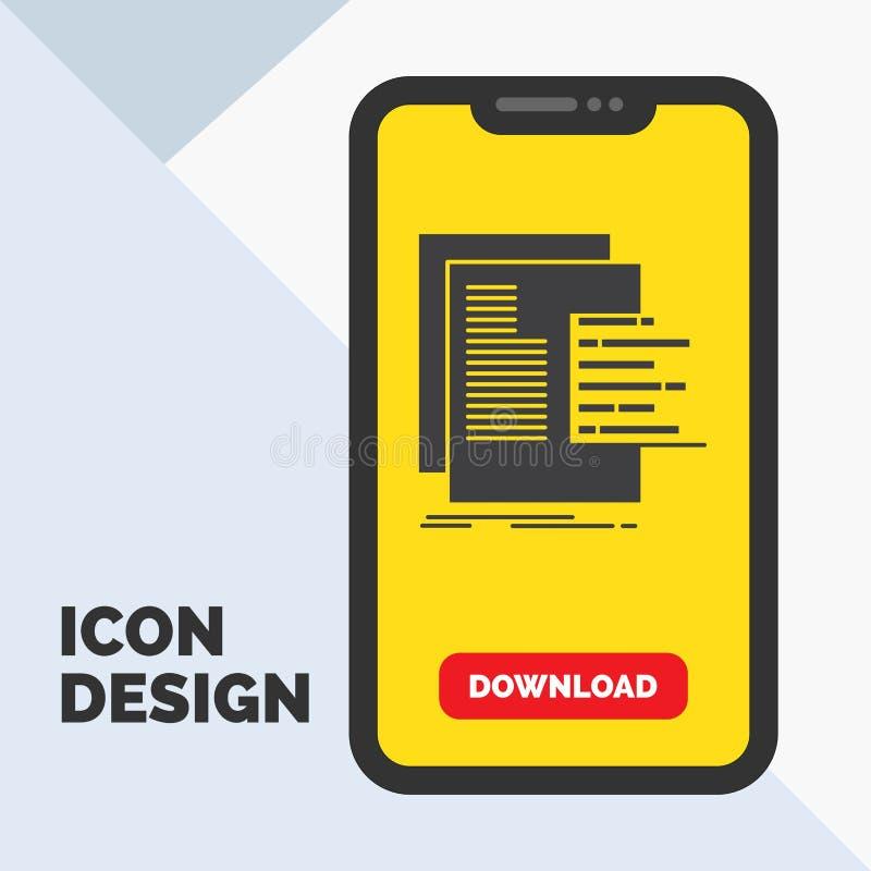 diagramme, données, graphique, rapports, icône de Glyph d'évaluation dans le mobile pour la page de téléchargement Fond jaune illustration stock