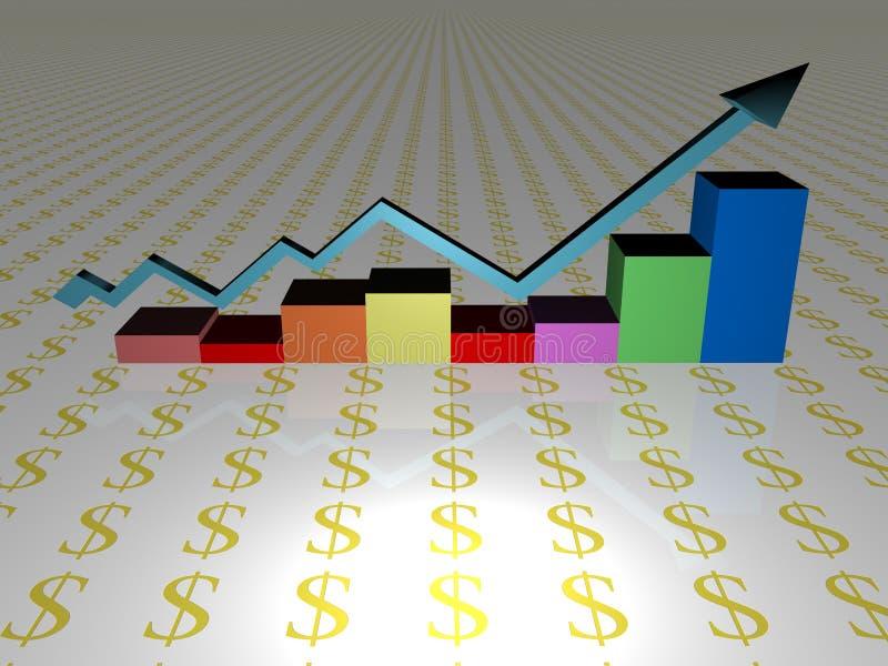 Diagramme en hausse de ventes illustration libre de droits