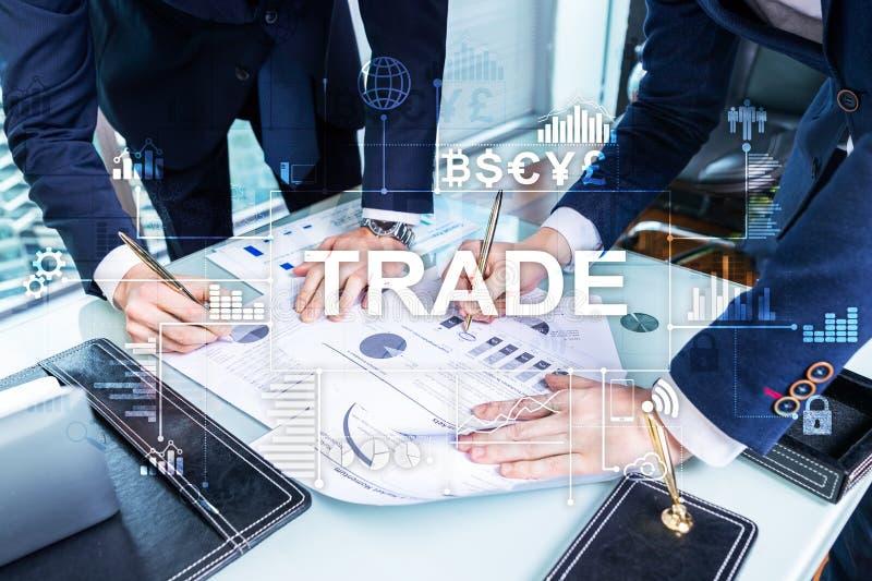 Diagramme et diagrammes de chandelier d'opérations boursières sur le fond brouillé de centre de bureau photographie stock