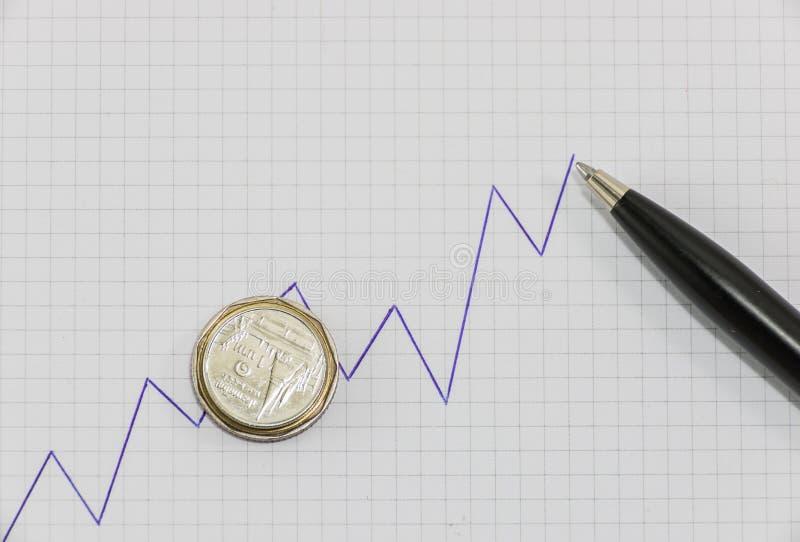 Diagramme haut de tendance d'écriture sur le papier de graphique avec les pièces de monnaie et le stylo noir photographie stock