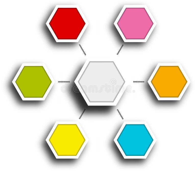 Diagramme infografic hexagonal de rapport de chronologie illustration de vecteur