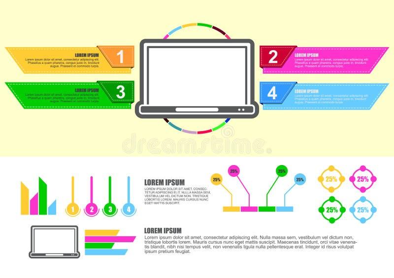 Diagramme infographic de conception d'ordinateur illustration stock