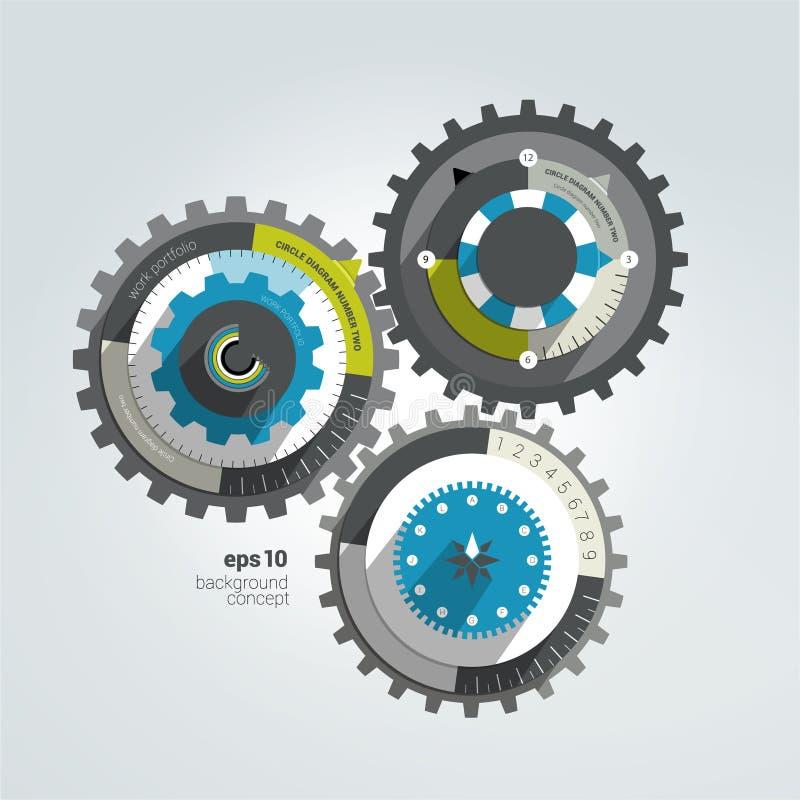 Diagramme infographic plat de roue dentée illustration libre de droits