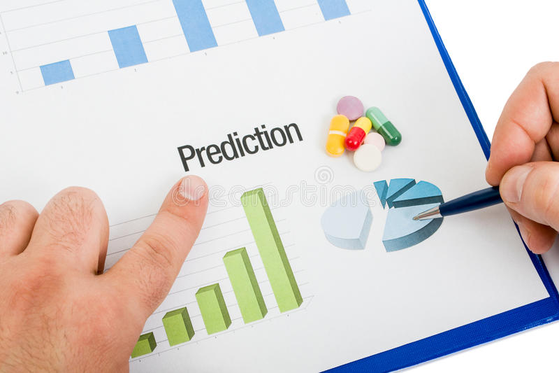 Diagramme médicinal de prévision de ventes de pilules images stock
