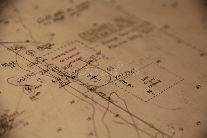 Diagramme nautique Carte de navigation ancrage image stock