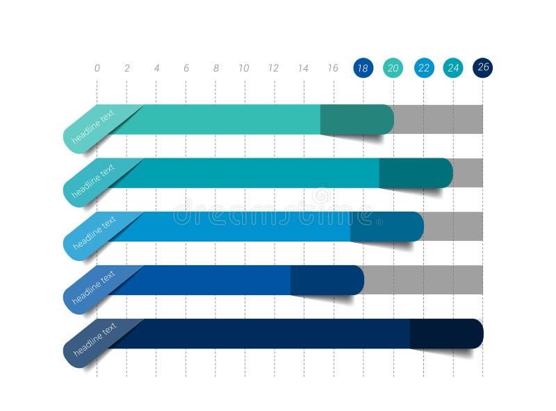 Diagramme plat, graphique Couleur simplement bleue editable illustration libre de droits