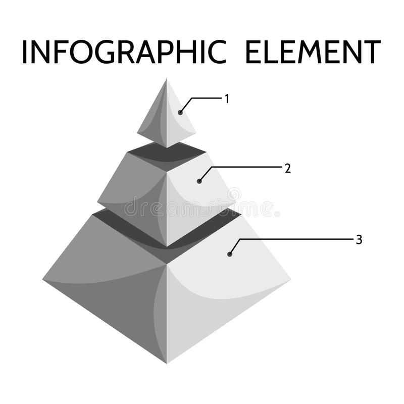Diagramme pyramidal trois-à gradins gris illustration stock