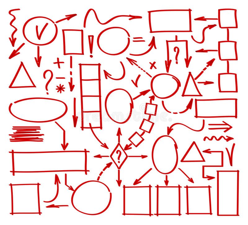 Diagramme tiré par la main de marqueur Éléments de griffonnage de carte d'esprit Marqueur dessiné par éléments pour la structure  illustration libre de droits