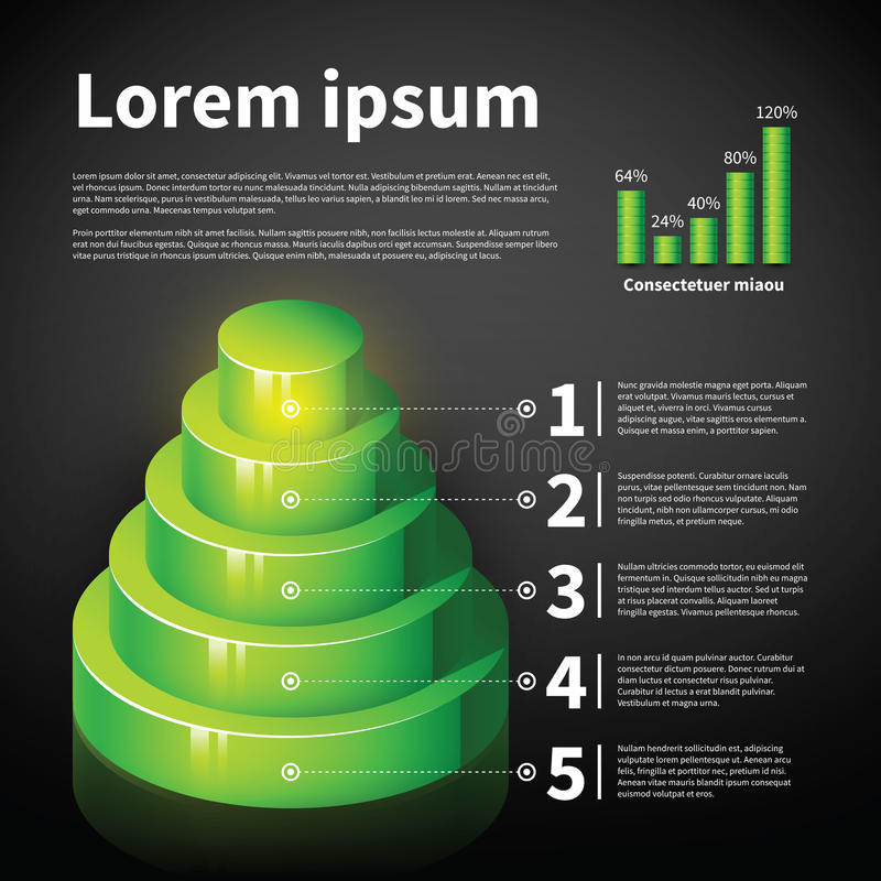 Diagramme vert du cône 3d avec quelques éléments infographic illustration de vecteur