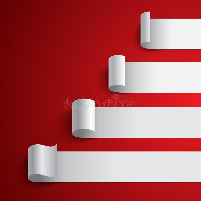 Diagramme vide courbé de bannières de rayure de livre blanc dessus illustration de vecteur