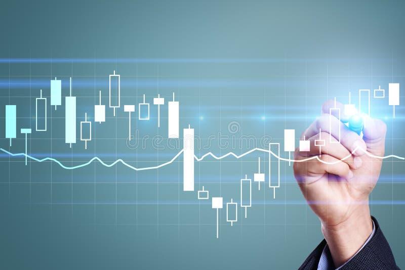 Diagrammen en grafieken Bedrijfsstrategie, de technologieconcept van de gegevensanalyse stock foto
