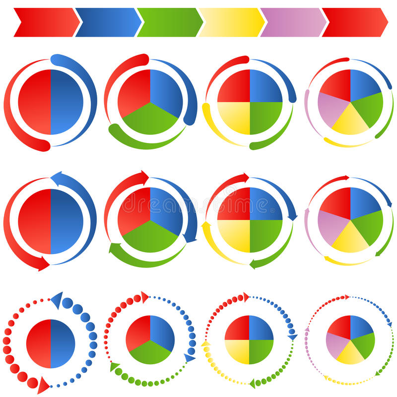 Diagrammes circulaires de processus de flèche illustration libre de droits