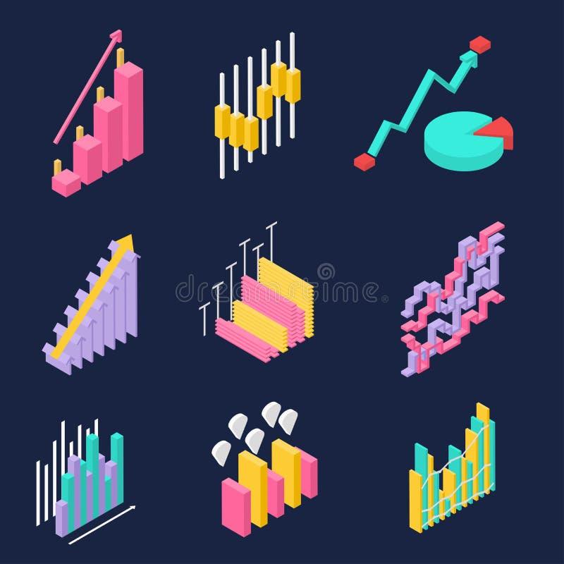 Diagrammes colorés sur le fond foncé photo stock