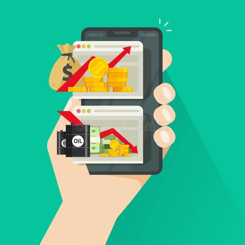 Diagrammes courants sur l'illustration de vecteur de smartphone, commerçant plat de bande dessinée vérifiant des tendances financ illustration libre de droits