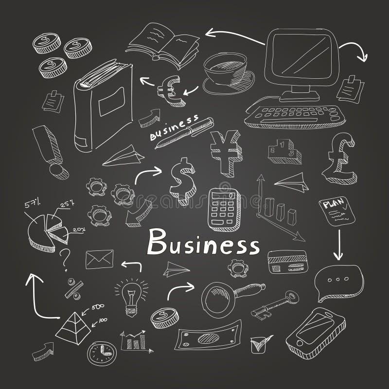 Diagrammes d'affaires de griffonnage réglés sur le vecteur de tableau noir illustration stock