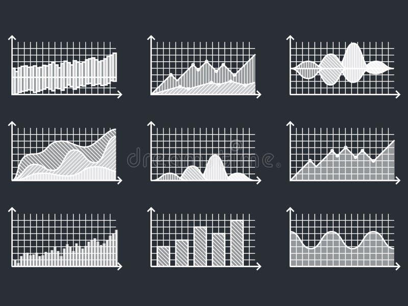 Diagrammes dans la ligne mince graphiques d'ensemble de style pour l'illustration infographic de vecteur illustration stock
