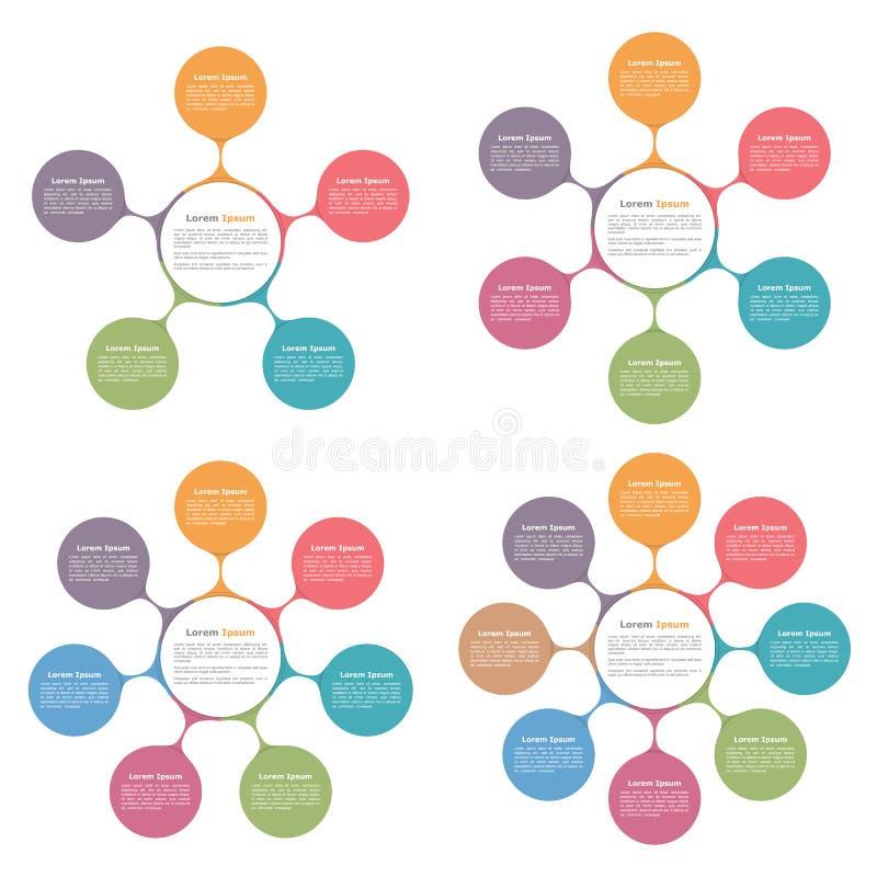 Diagrammes de cercle réglés illustration stock