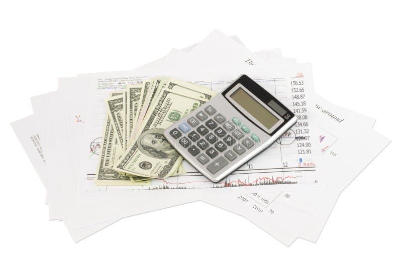 Diagrammes des dollars, de calculatrice et de papier photos libres de droits