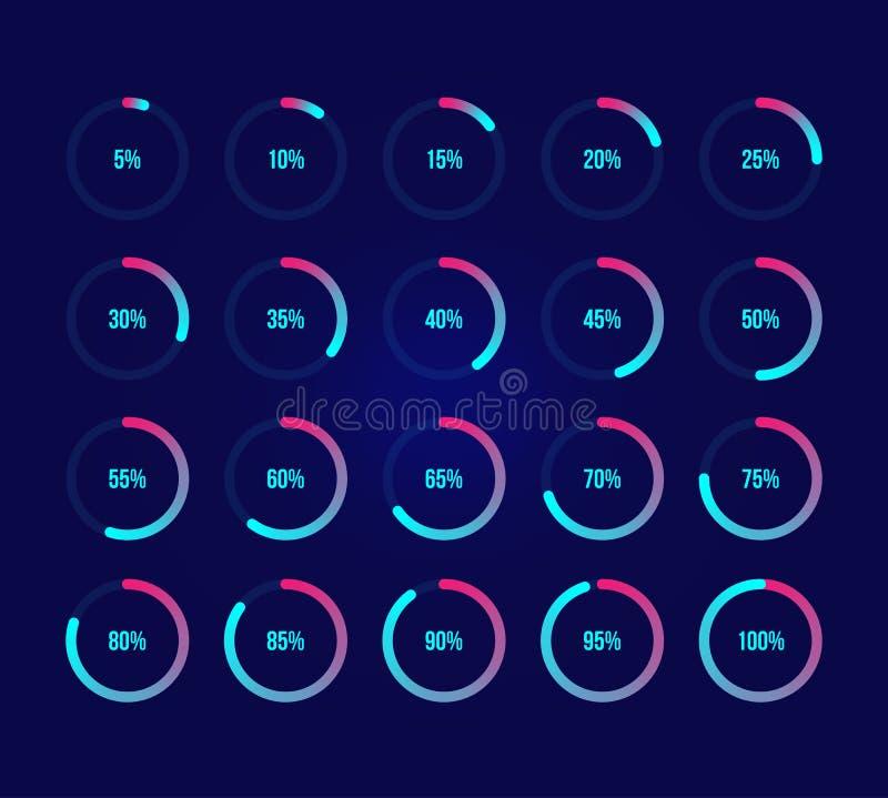 Diagrammes en secteurs colorés illustration de vecteur