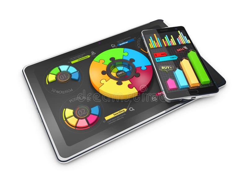 Diagrammes en secteurs colorés créatifs de l'illustration 3D sur le comprimé avec le téléphone, concept d'affaires illustration libre de droits