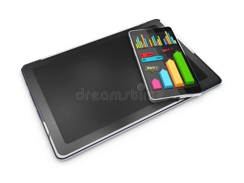 Diagrammes en secteurs colorés créatifs de l'illustration 3D sur le comprimé avec le téléphone, concept d'affaires illustration stock