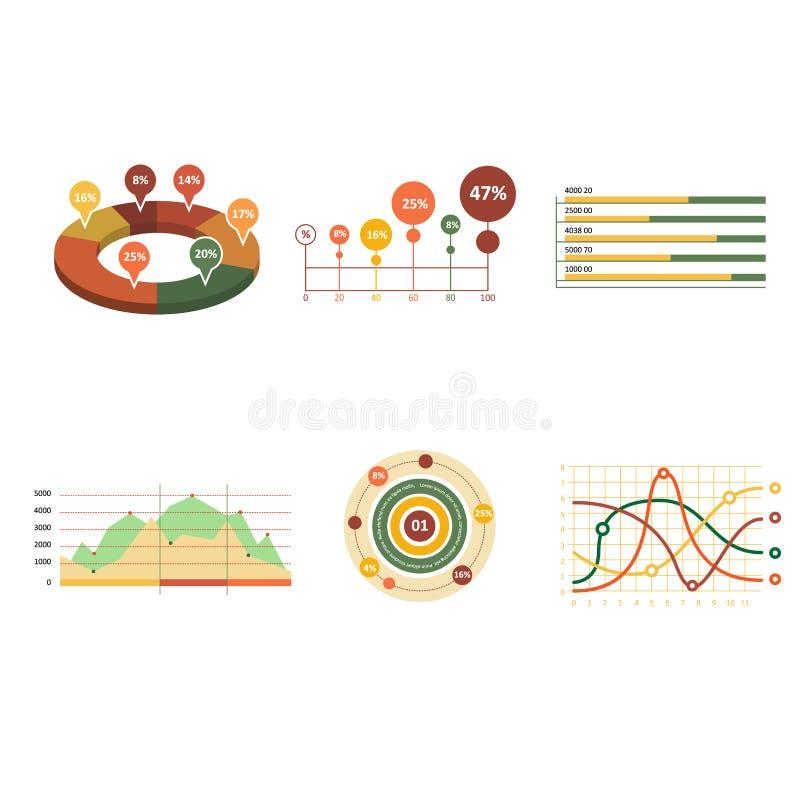 Diagrammes en secteurs de barre de point d'éléments du marché de données commerciales illustration de vecteur