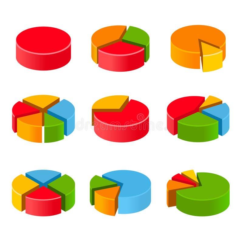 Diagrammes en secteurs segmentés et multicolores réglés illustration de vecteur