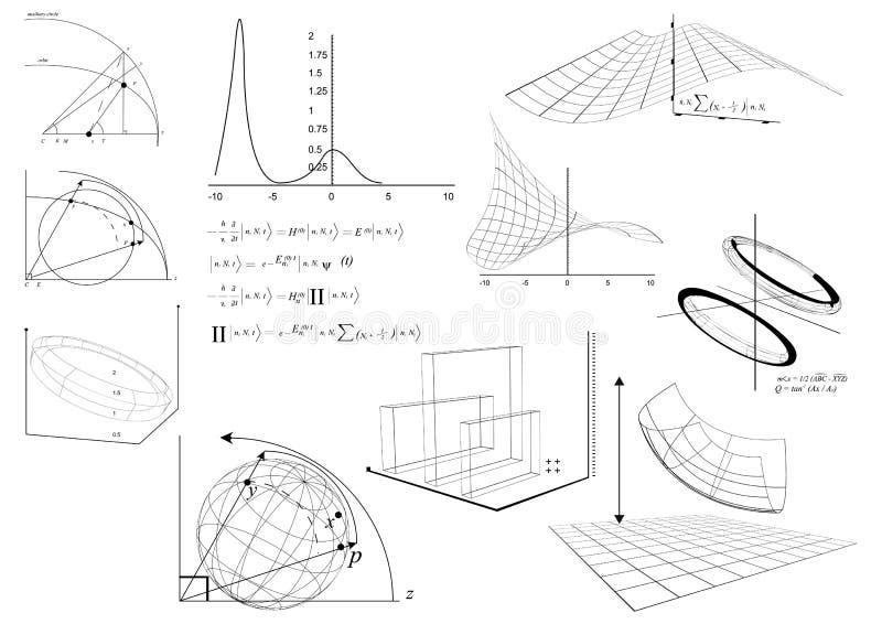 Diagrammes et équation mathématiques images stock