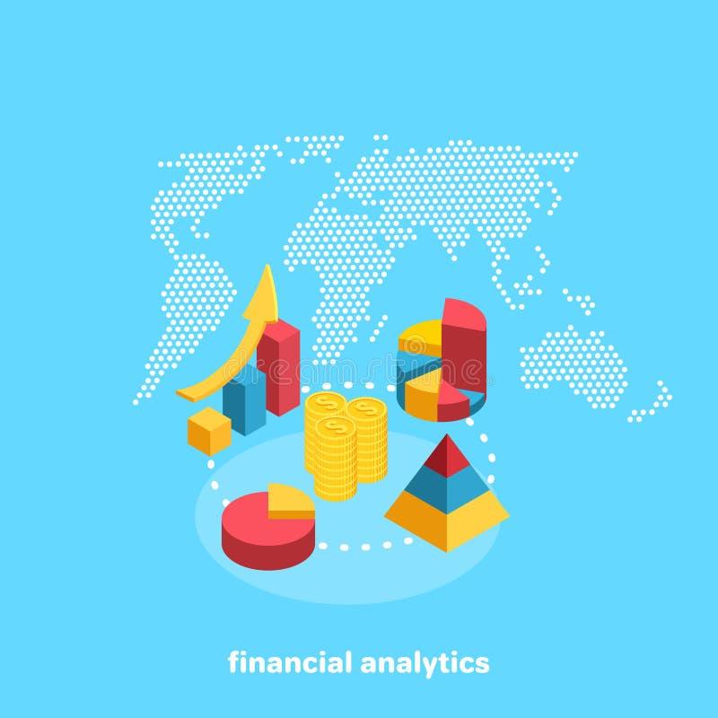 Diagrammes financiers sur le fond de la carte du monde illustration libre de droits
