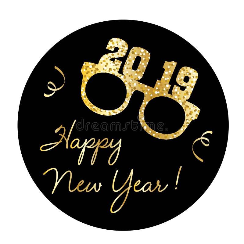 Diagrammet för det lyckliga nya året med guld blänker glasögon och konfettier stock illustrationer