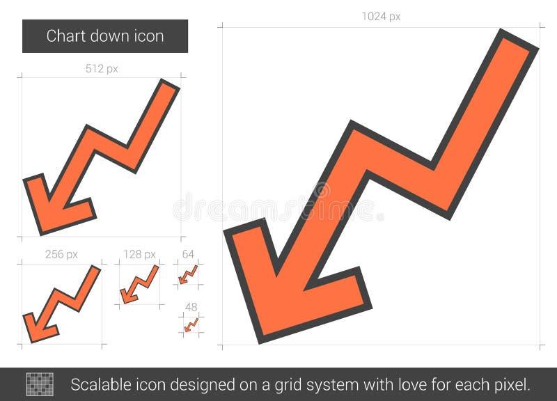 Diagrammet fodrar ner symbolen vektor illustrationer