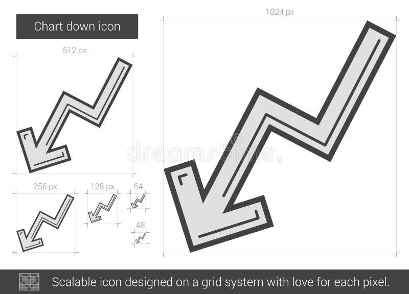 Diagrammet fodrar ner symbolen stock illustrationer