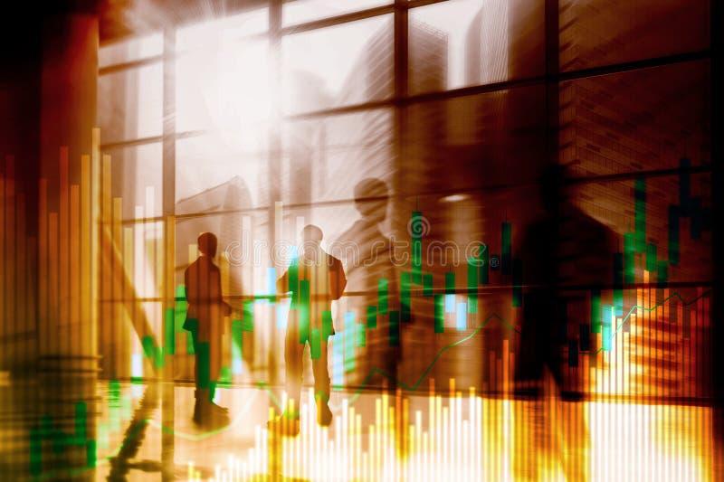 Diagrammet och diagram för ljusstake för materielhandel på suddigt kontor centrerar bakgrund stock illustrationer