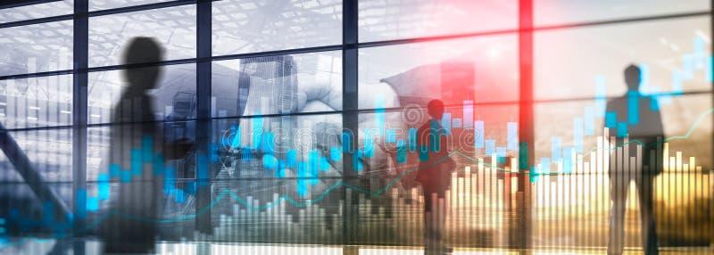 Diagrammet och diagram för ljusstake för materielhandel på suddigt kontor centrerar bakgrund royaltyfri illustrationer