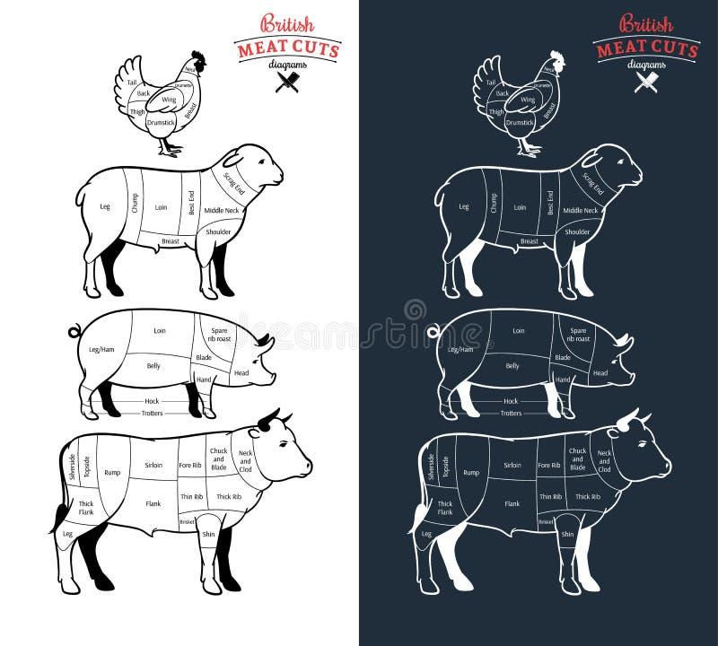 Diagrammi britannici dei tagli di carne royalty illustrazione gratis