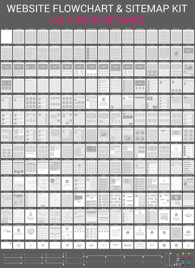 Diagrammi di flusso del sito Web messi illustrazione vettoriale
