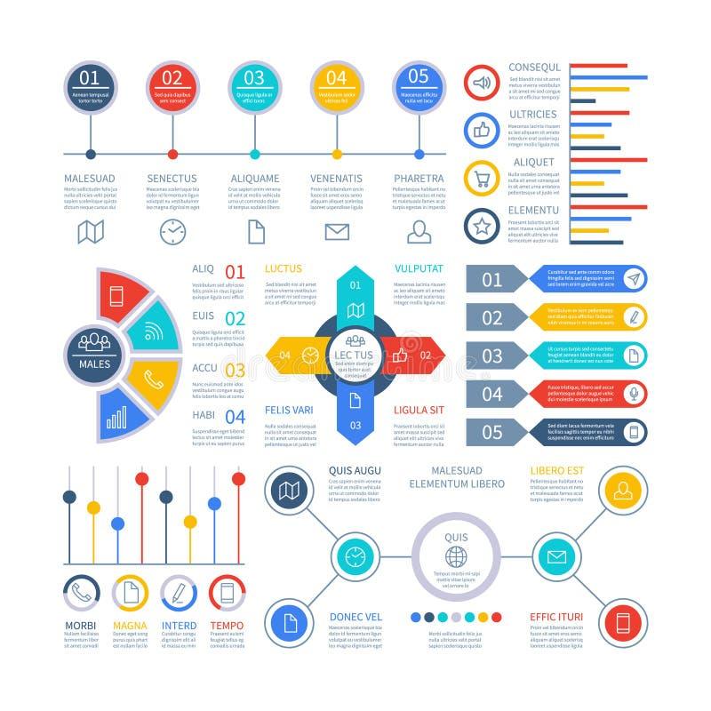 Diagrammi di Infographics Elementi di Infochart, grafico commercializzante e grafici, diagramma della barra Grafico di pianificaz illustrazione vettoriale