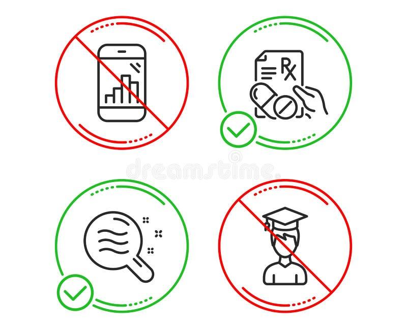 Diagrammtelefon, Zustandsikonensatz der verschreibungspflichtigen Medikamente und der Haut Weiblicher Hochschulstudent, der unbel lizenzfreie stockbilder