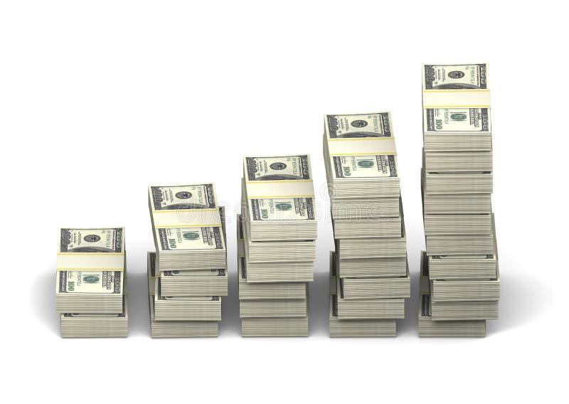 Diagrampakken dollars op een witte achtergrond, orthografische projectie Het concept van de winstgroei stock afbeeldingen